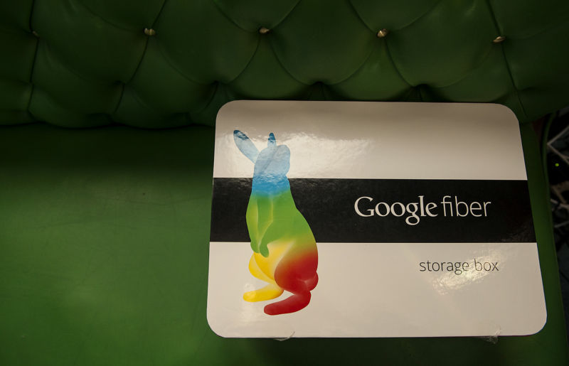 A Google Fiber installation box in Kansas City, Kansas.