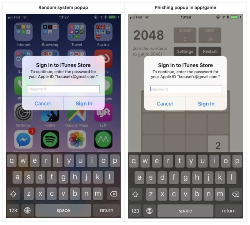 Beware of sketchy iOS popups that want your Apple ID