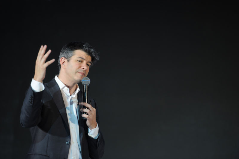 Uber CEO Travis Kalanick delivering a speech last year in Beijing. Kalanick is likely to be on the stand if <em>Waymo v. Uber</em> goes to trial.
