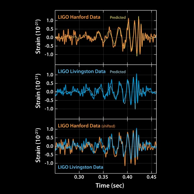 The top two graphs show the predicted signal of gravitational waves, based on Kip Thorne's work, compared to what was seen at the two LIGO detectors.
