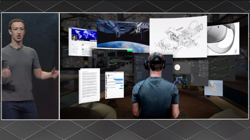 "Mark Zuckerberg shows off the ""infinite screens"" you can get on the Oculus Rift."