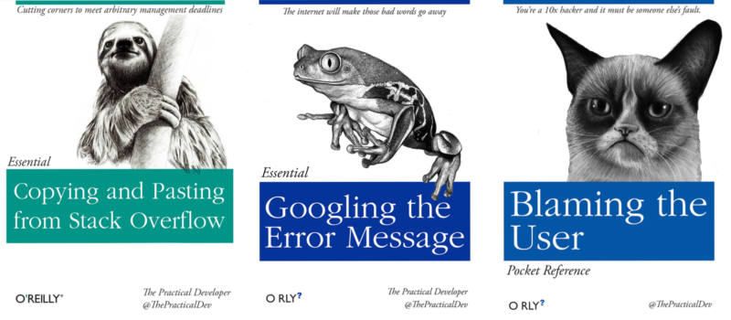 Some classic O'Reilly titles. (OK, not really. But honestly these titles <em>would</em> teach some folks very valuable devops skills.)