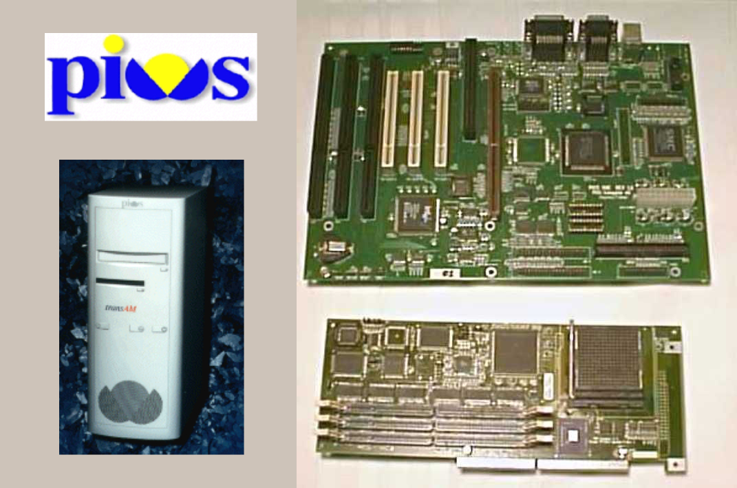 The PIOS logo, prototype case, and motherboard.