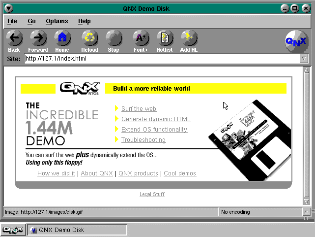 QNX's famous 1.44MB floppy demo. It really worked!