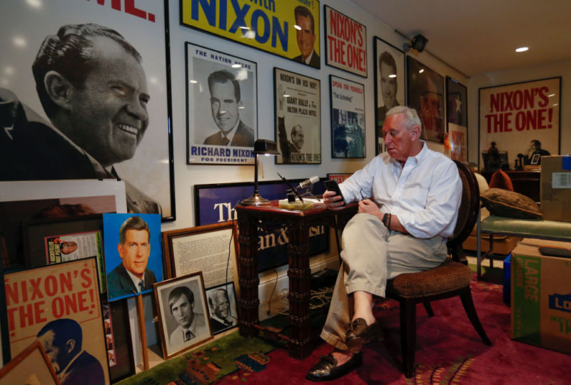 Roger Stone in his office in Oakland Park, Florida.