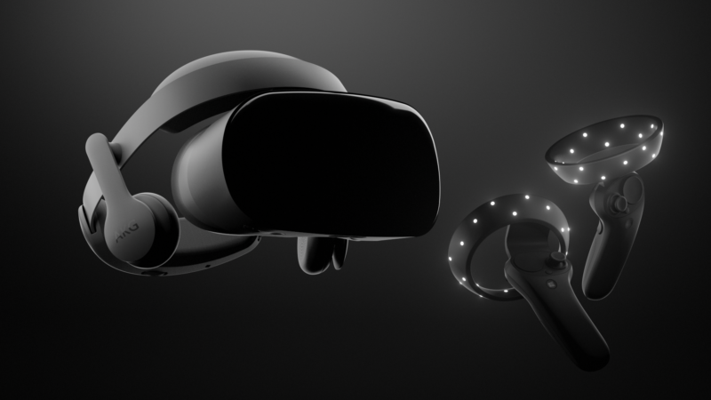 Samsung Odyssey headset and motion controllers.