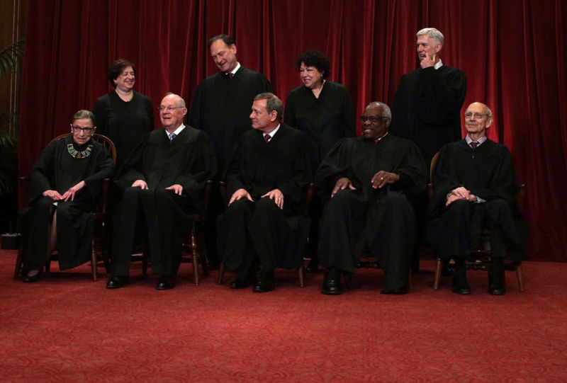 Front row from left, U.S. Supreme Court Associate Justice Ruth Bader Ginsburg, Associate Justice Anthony M. Kennedy, Chief Justice John G. Roberts, Associate Justice Clarence Thomas, and Associate Justice Stephen Breyer, back row from left, Associate Justice Elena Kagan, Associate Justice Samuel Alito Jr., Associate Justice Sonia Sotomayor, and Associate Justice Neil Gorsuch.