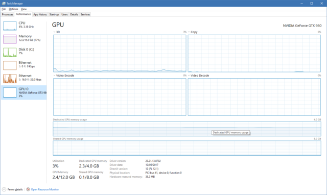 Task Manager provides ever more insight into the system with its new GPU monitoring.