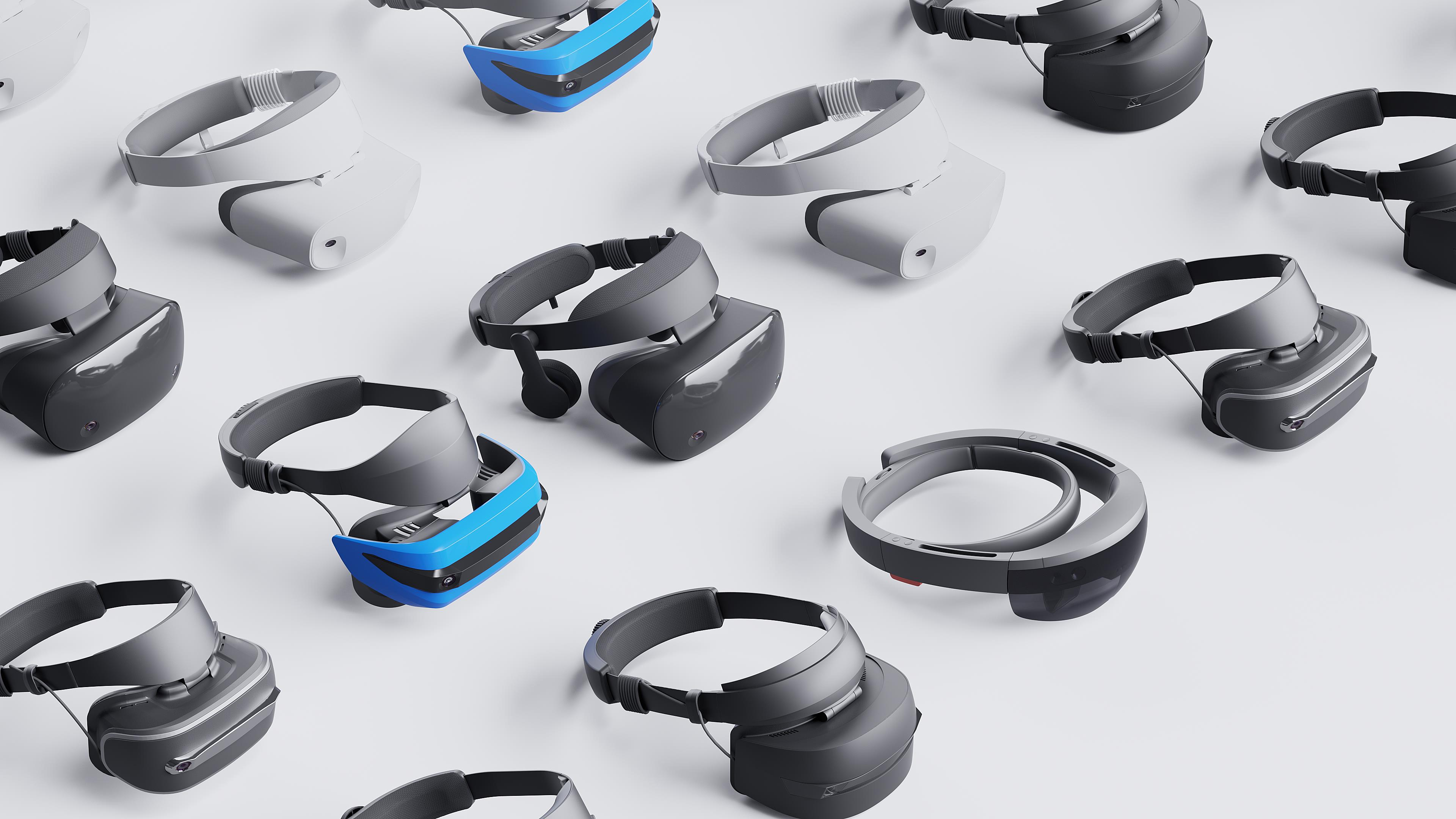 An array of Windows MIxed Reality headsets.
