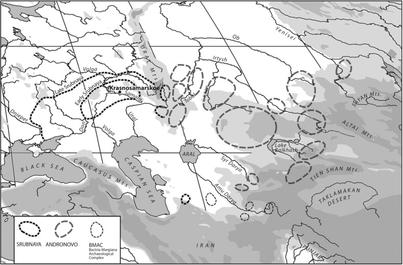 A map of the area on the northern Russian steppes where the sacrificial dogs were found. The Krasnosamarskoe settlement was a tiny ritual center, part of the larger Indo-European Srubnaya culture in the late Bronze Age.