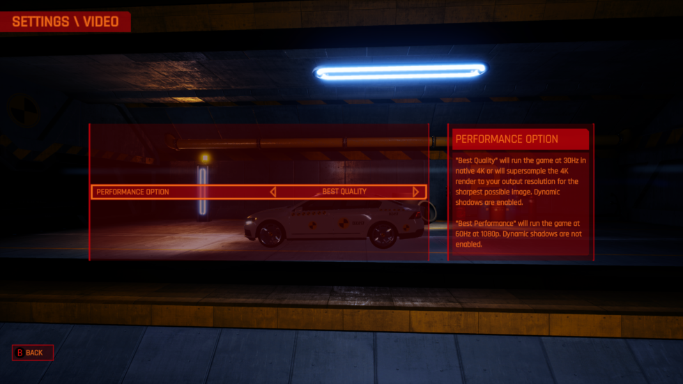 <em>Danger Zone</em>, from a group of ex-Criterion devs who'd worked on the Burnout series, forces players to pick between 4K resolution at 30 fps or 1080p/60. Are those really the only options that would have worked? The game is notorious for running in boring, minimal-detail interiors. How the heck did they not pull off, say, a 1440p/60 mode as a compromise?