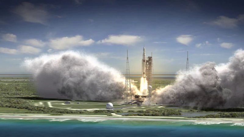 This artist rendering shows an aerial view of the liftoff of the SLS rocket during Exploration Mission 1.
