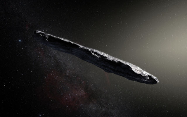 An artist's impression of the oddly shaped interstellar asteroid 'Oumuamua.