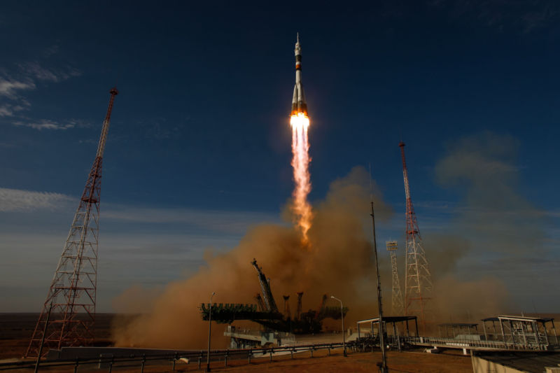 A Soyuz rocket launches from Baikonur, Kazakhstan.