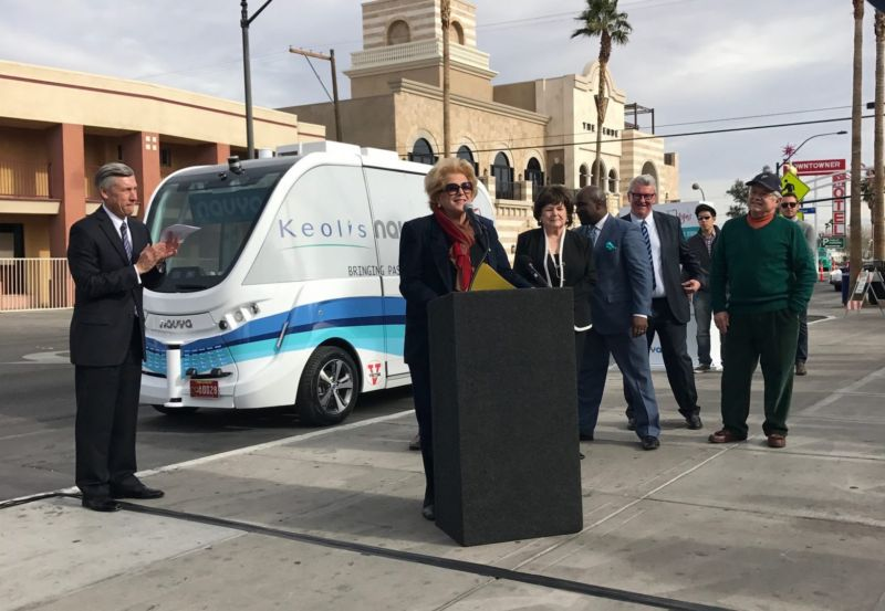 Officials announcing the driverless shuttle program in Las Vegas in January.