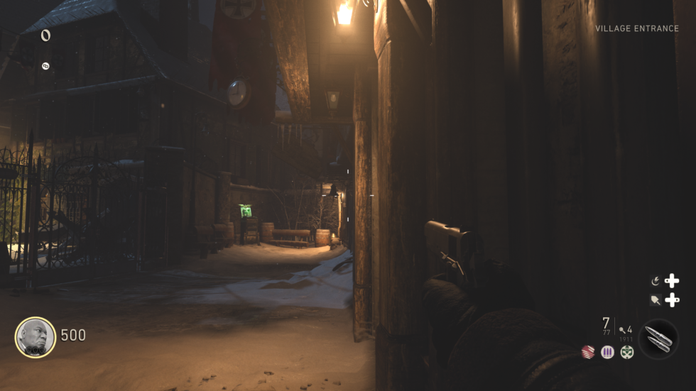 "<em>Call of Duty: World War II</em> looks solid in 4K, particularly when running at a locked 60fps refresh. Here is its ""Nazi Zombies"" mode."