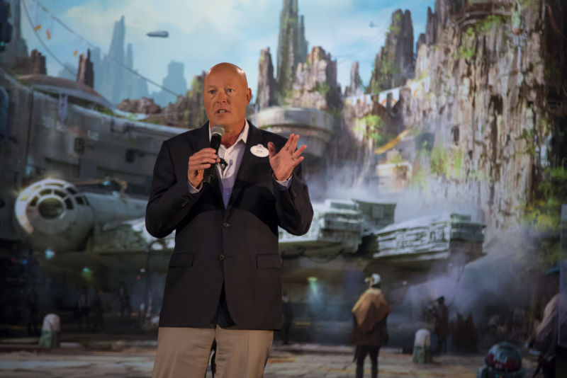 Bob Chapek, chairman of Walt Disney Parks and Resorts, shows off plans for Disney's forthcoming <em>Star Wars</em>-themed park in Anaheim.