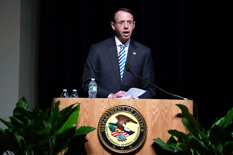 US Deputy Attorney General Rod Rosenstein delivers remarks at the 65th Annual Attorney General's Awards Ceremony at the Daughters of the American Revolution Constitution Hall October 25, 2017 in Washington, DC.
