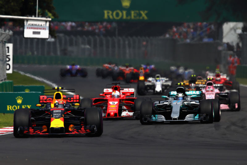 Renault, Mercedes, and Ferrari engines power the first three cars off the grid in this year's Mexican Grand Prix.