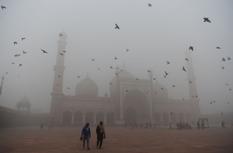Indian visitors walk through the courtyard of Jama Masjid amid heavy smog in the old quarters of New Delhi on November 8, 2017.