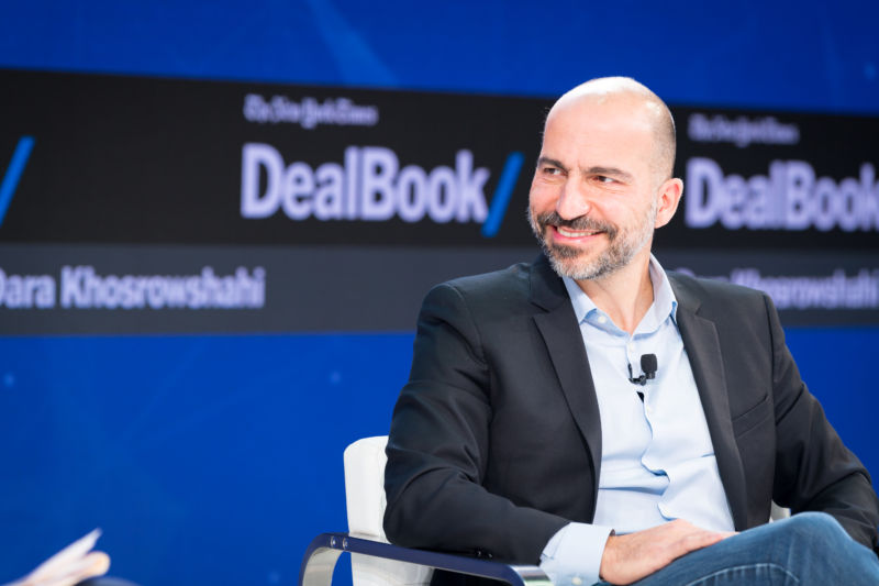 Uber CEO Dara Khosrowshahi speaks onstage at The New York Times 2017 DealBook Conference at Jazz at Lincoln Center on November 9, 2017 in New York City.