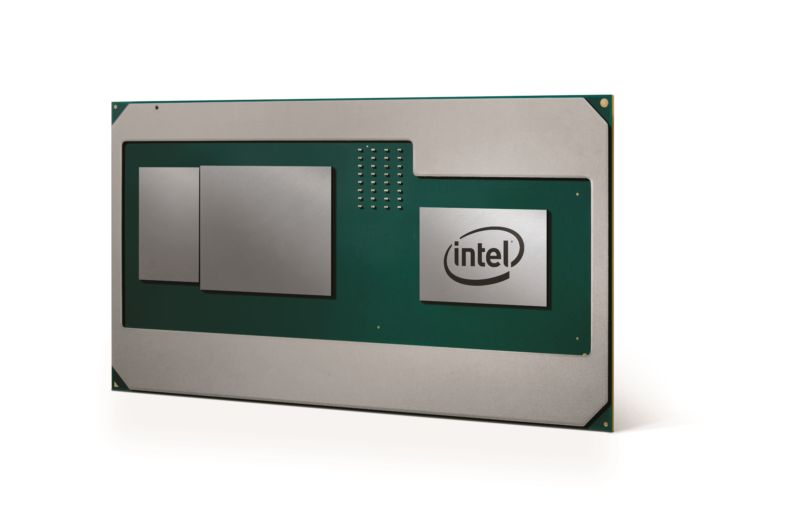 Intel's render of an 8th-generation H-series processor. The discrete GPU and stacked HBM2 memory are side by side.