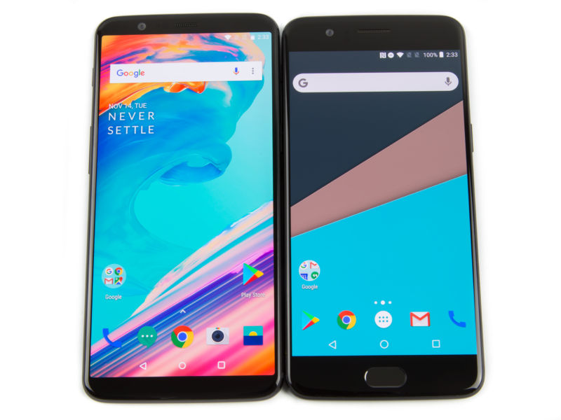 Here's the 5T (left) compared to the OnePlus 5 (right). It's a big improvement, packing more screen into the same size body.