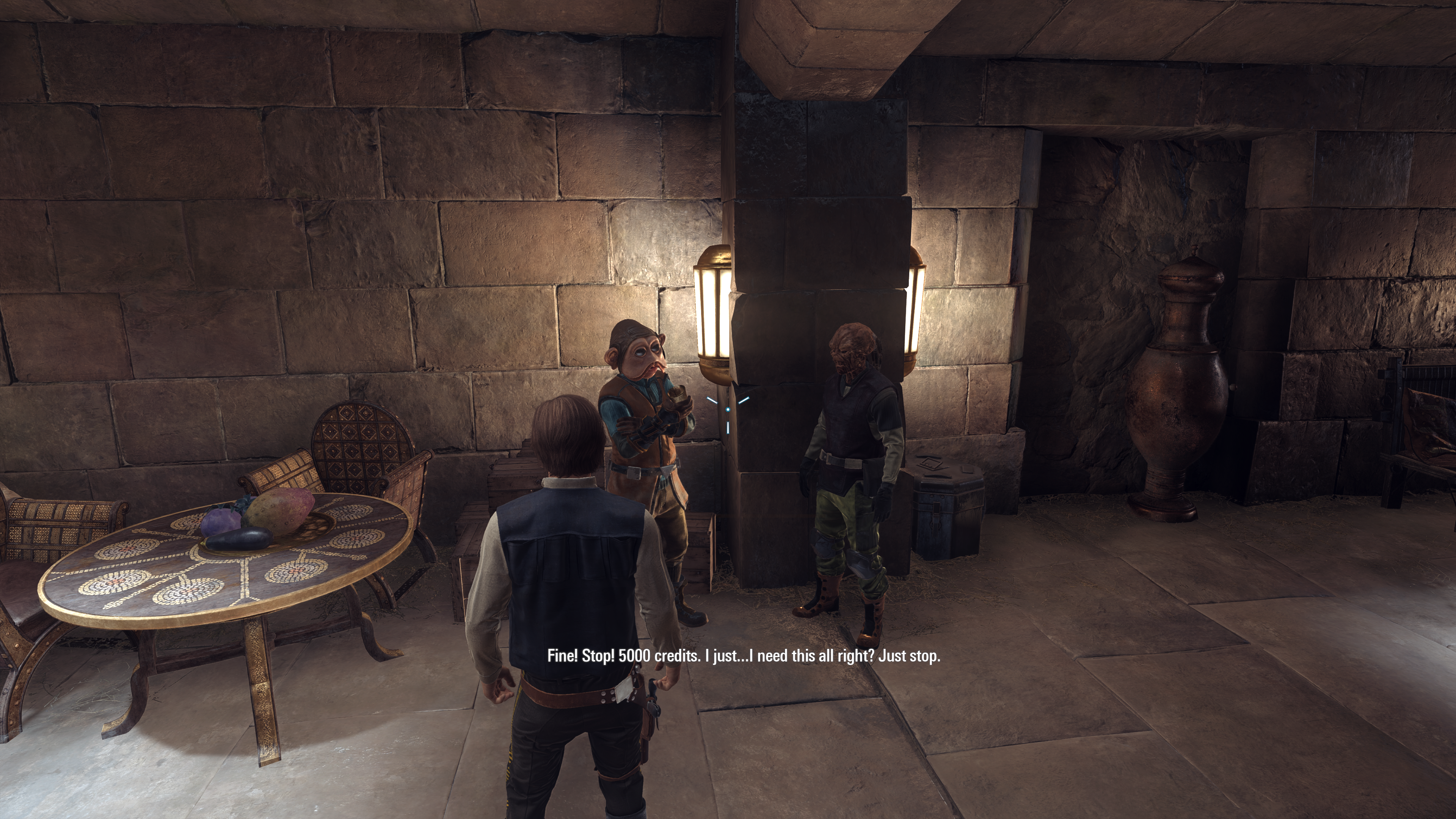 During one very, very slow mission, Han Solo overhears a few conversations. This one, about people bickering over how many credits a debtor should pay, feels waaaay too on-the-nose after this week's loot box debacle.