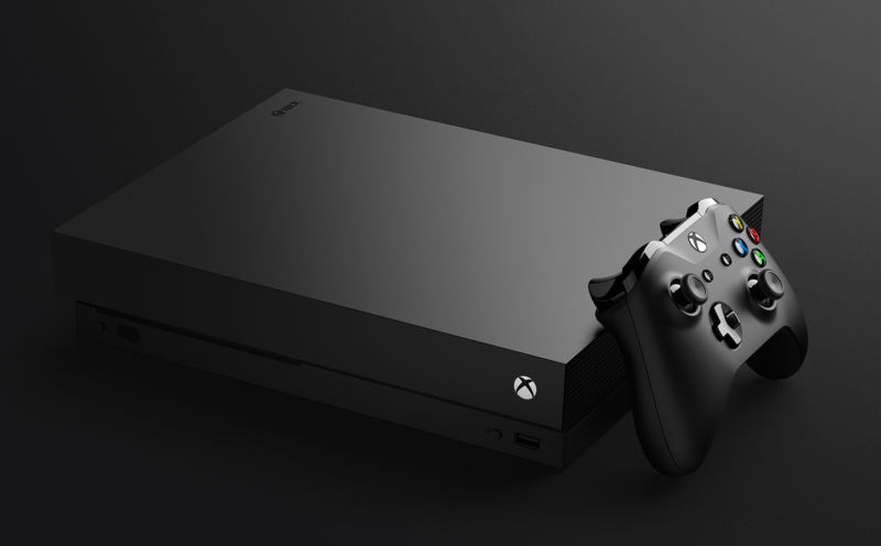 Xbox One X. But what good is a monolithic box without some software to test on it?