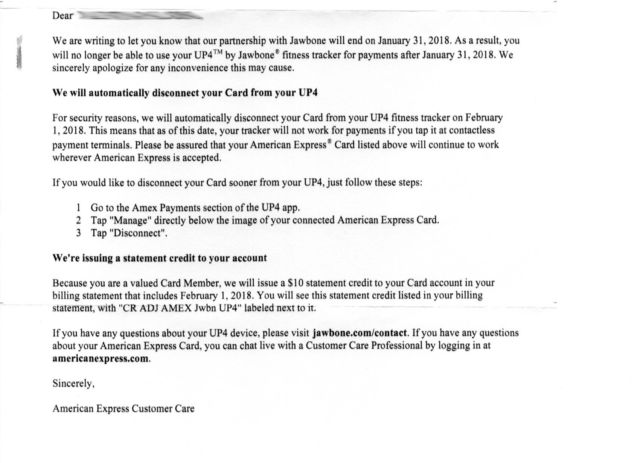 The notice sent to American Express users regarding the end of the Jawbone Up4 partnership.