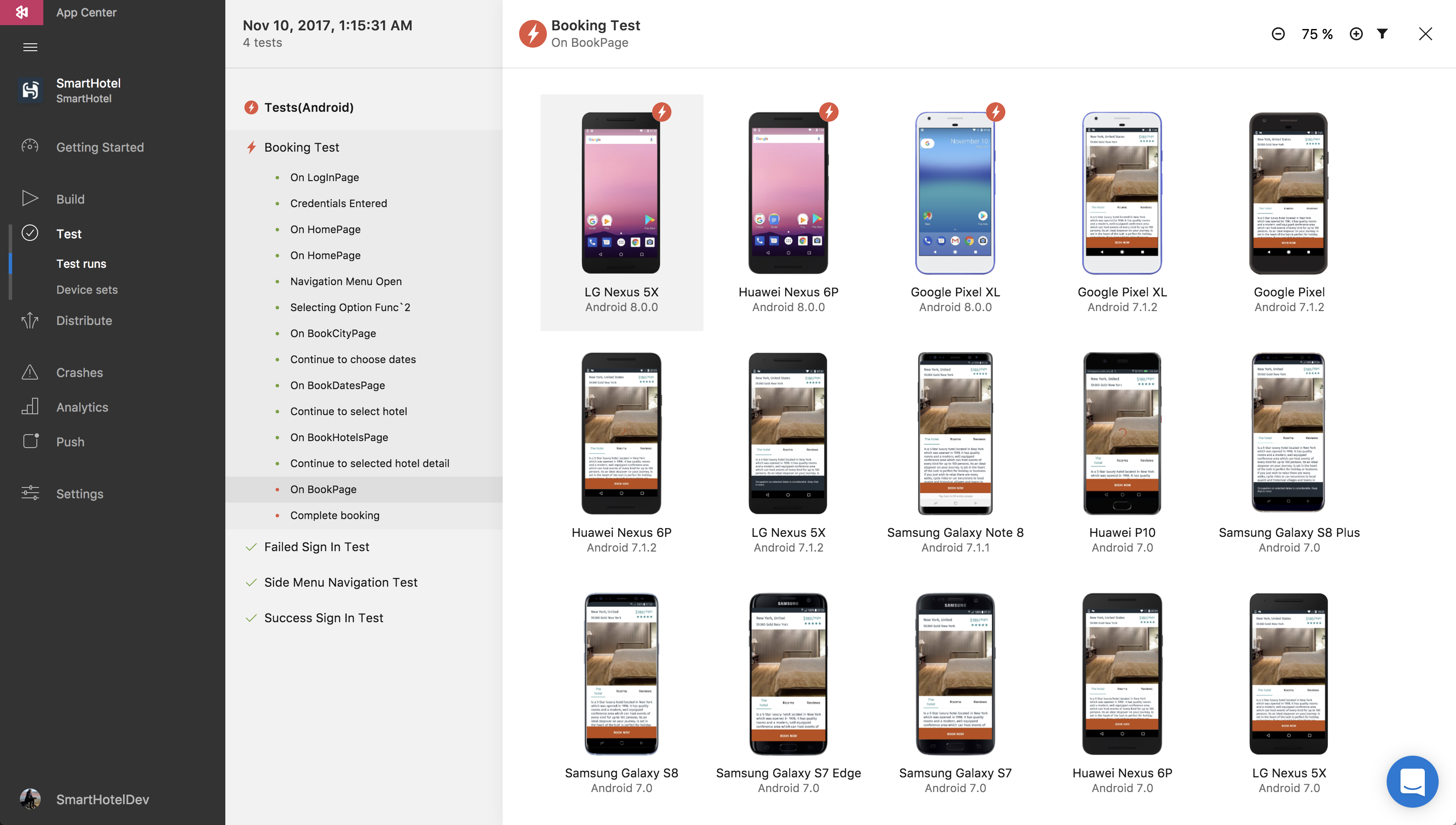 App Center lets you test across a whole bunch of devices at the same time. Notice how the first three phones have crashed out to the desktop because of a bug in the app being tested.