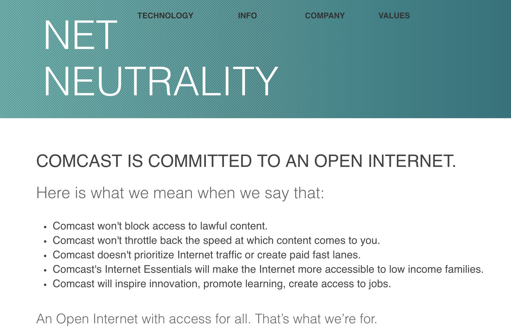 Comcast deleted net neutrality pledge the same day FCC announced
