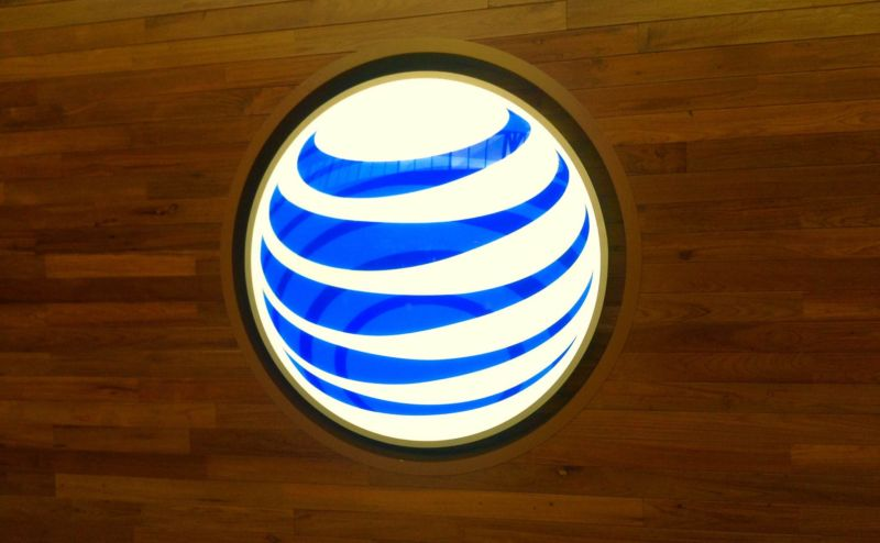 An AT&T logo on a wall.