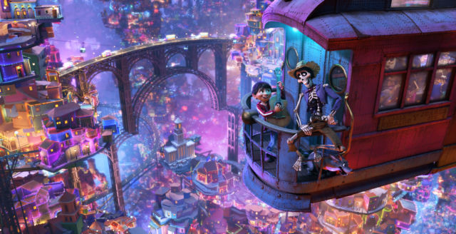 Miguel teams up with Hector (voice of Gael García Bernal) on a quest through a gorgeously rendered city in the Land of the Dead.