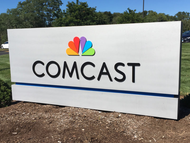 A Comcast sign.