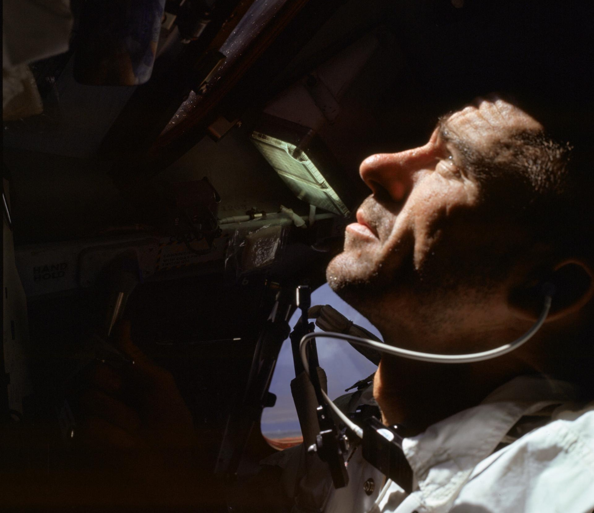 Walt Cunningham is photographed during the Apollo 7 mission.