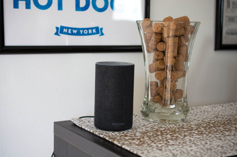 Amazon device sits next to a decorative vase.