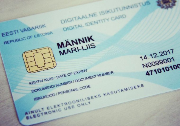 A digital identity card issued by the Republic of Estonia.
