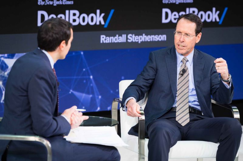 AT&T CEO Randall Stephenson speak onstage at The New York Times 2017 DealBook Conference on November 9, 2017 in New York City.