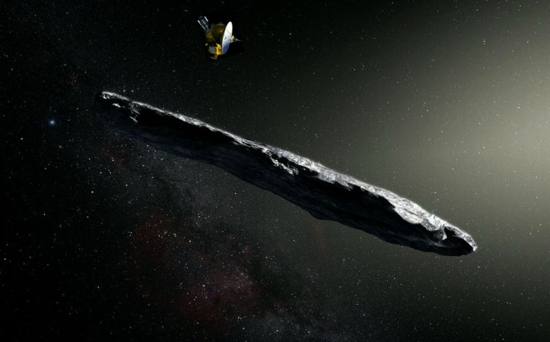 An illustration of a New Horizons spacecraft atop an illustration of 'Oumuamua. Nothing is to scale.
