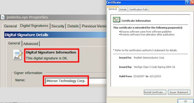 The two legitimate signing certificates Stuxnet used to bypass Windows protections.