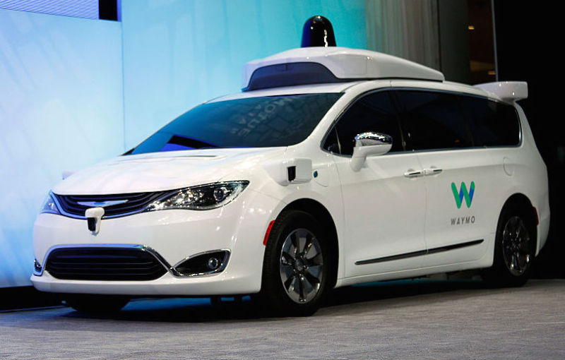 A customized Waymo minivan being shown off at the 2017 North American International Auto Show in Detroit.