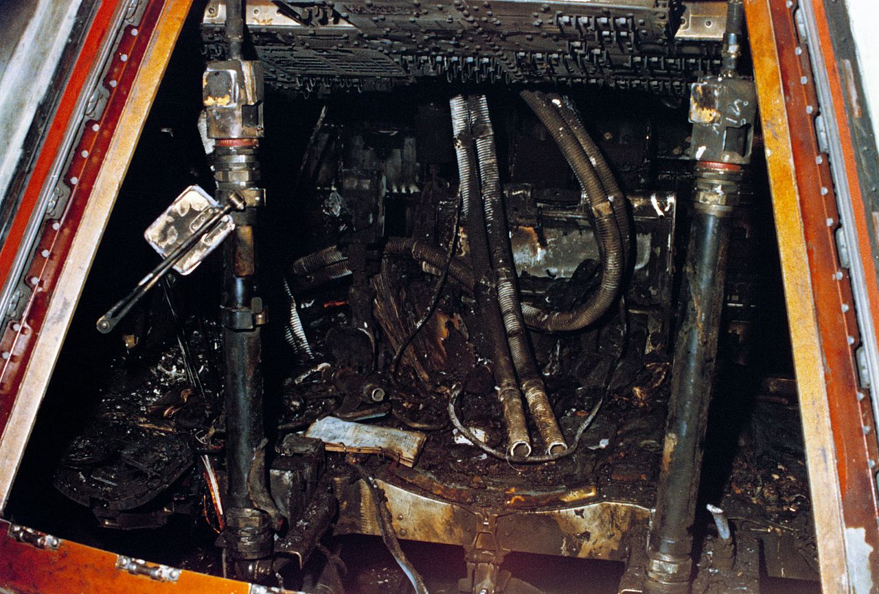 The interior of the Apollo 1 capsule after the fire.