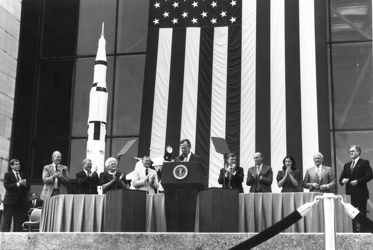 The elder President Bush announces the Space Exploration Initiative in 1989 to return to the Moon and go to Mars.