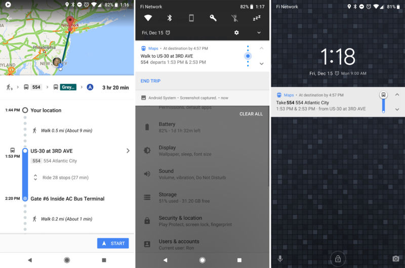 "Left: Google Maps Transit directions with the new ""start"" button. Center and right: the new transit navigation notification. You can tap on the arrows to cycle through steps."