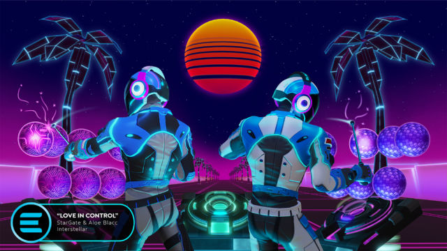 Two virtual DJs collaborate in an <em>Electronauts</em> performance.