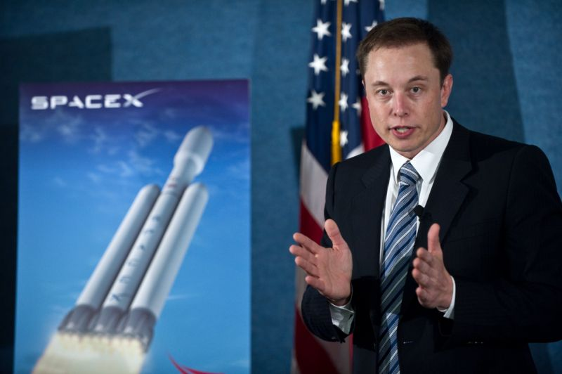 SpaceX CEO Elon Musk unveils the Falcon Heavy rocket at the National Press Club in Washington,DC on April 5, 2011.
