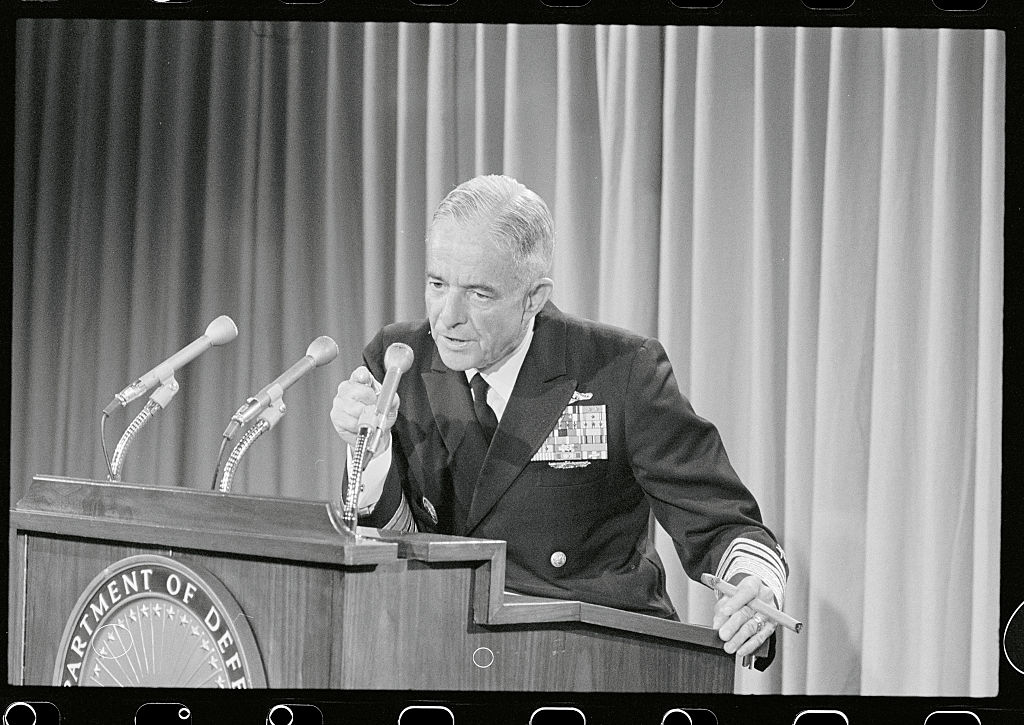 Admiral John S. McCain, Jr., US commander-in-chief in the Pacific, speaks to the media.