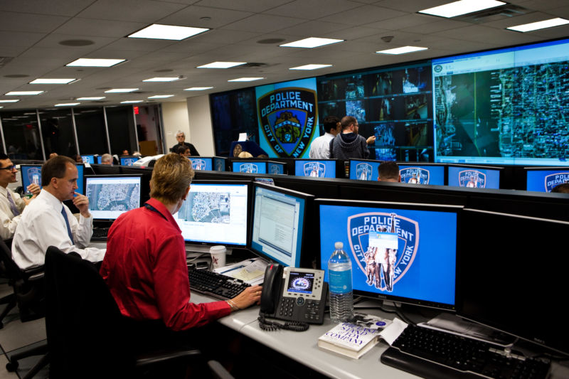 "Modeled after London's ""Ring of Steel,"" the NYPD opened its coordination center in 2008. As seen in 2010, cops monitor feeds from over 1,159 CCTV cameras with the number increasing to 3,000 as the program expands."