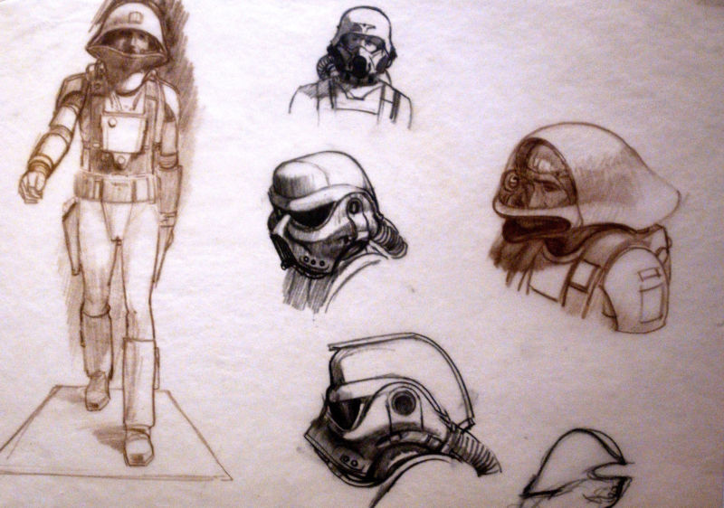 Original sketches of Imperial Storm Troopers by artist Ralph McQuarrie.